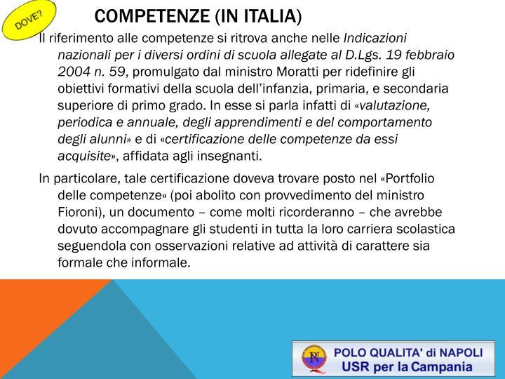 Competenze (IN ITALIA)
