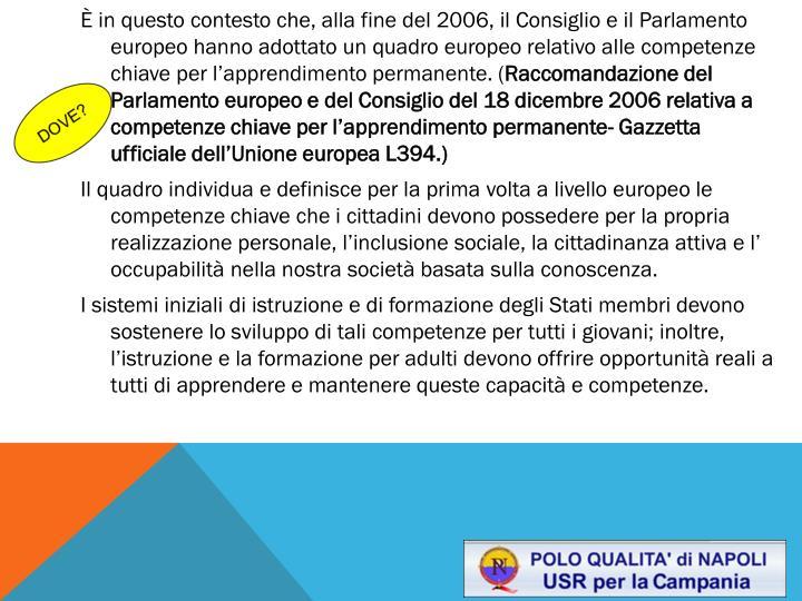 È in questo contesto che, alla fine del 2006, il Consiglio e il Parlamento europeo hanno adottato un quadro europeo relativo alle competenze chiave per l'apprendimento permanente. (