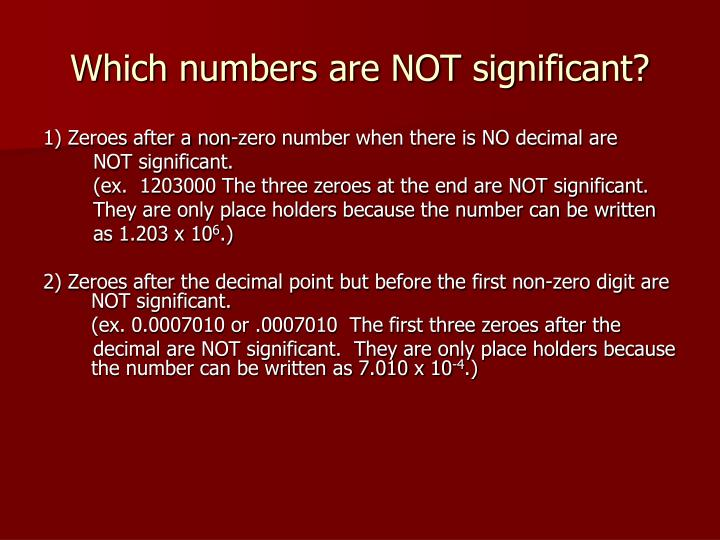 Which numbers are not significant