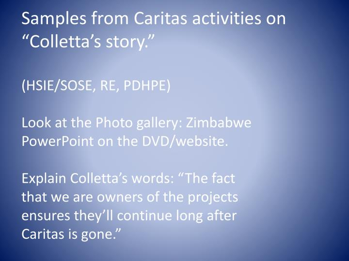 """Samples from Caritas activities on """""""