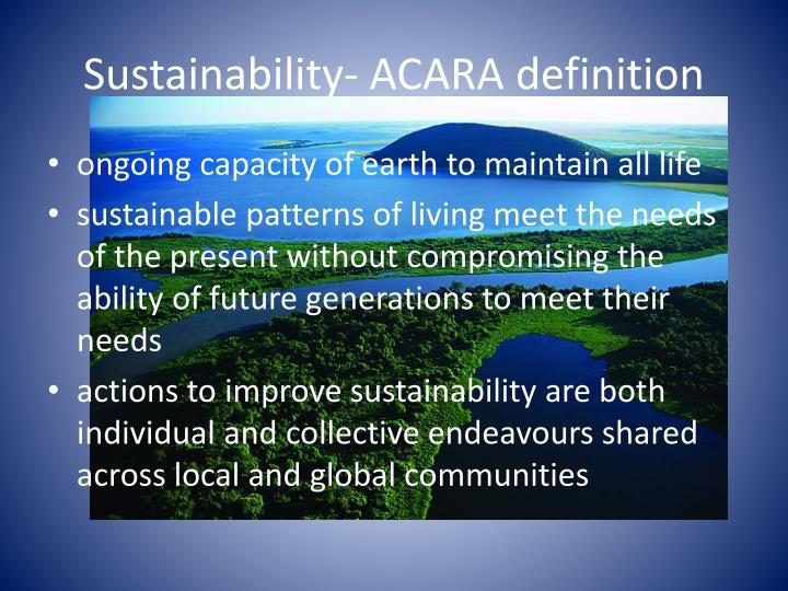 Sustainability- ACARA definition