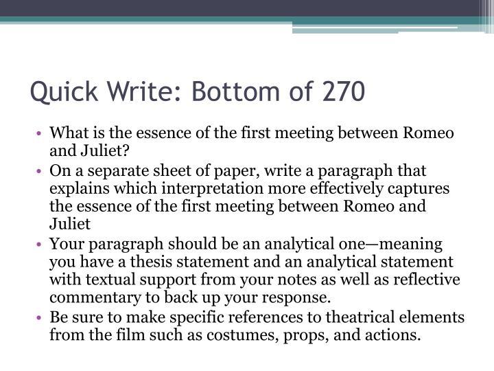 Quick Write: Bottom of 270