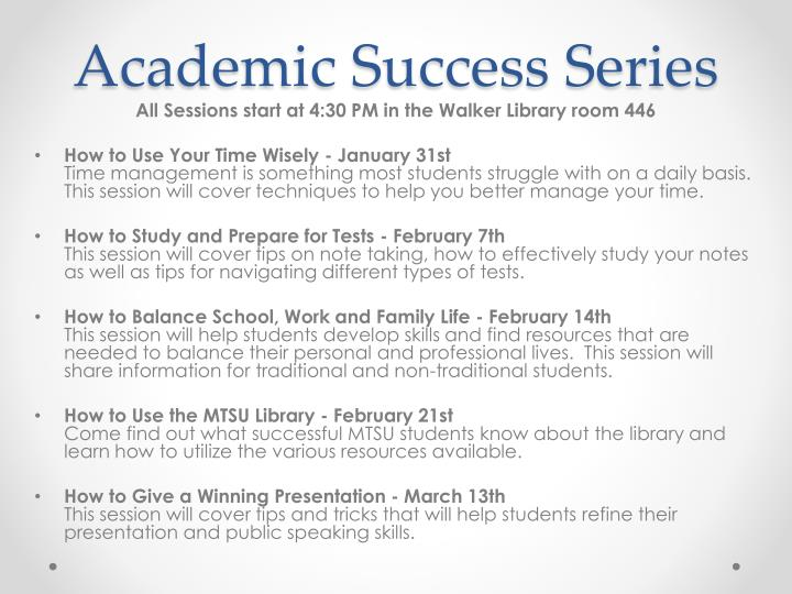 Academic Success Series