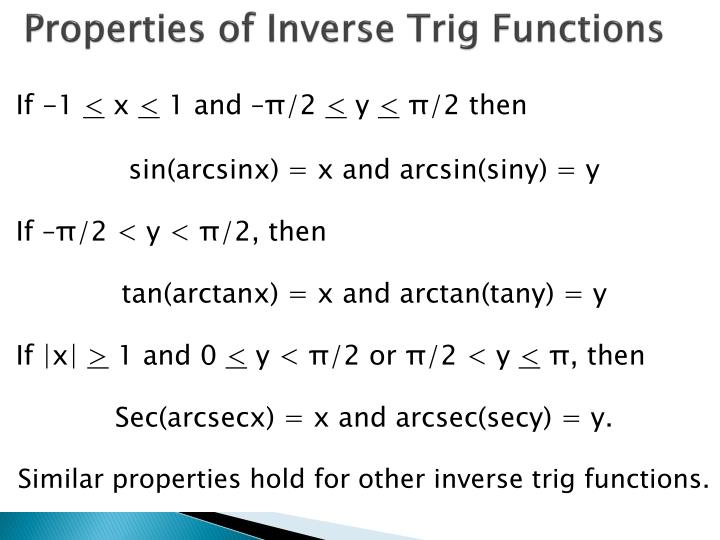 Properties of Inverse Trig Functions
