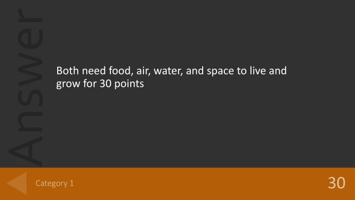 Both need food, air, water, and space to live and grow for 30 points