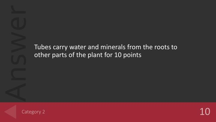 Tubes carry water and minerals from the roots to other parts of the plant for 10 points