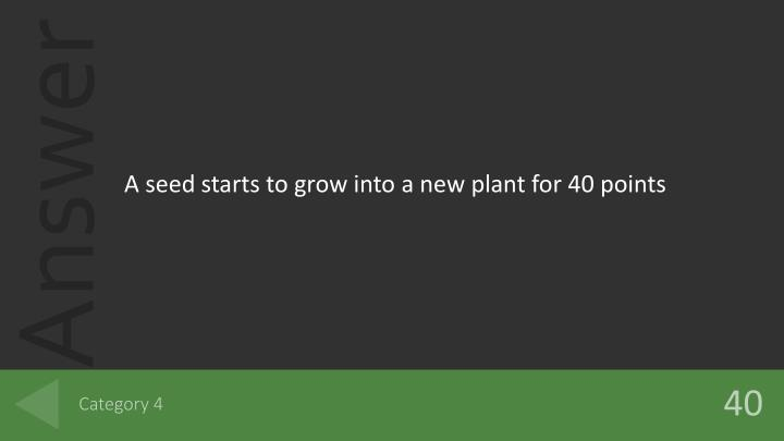 A seed starts to grow into a new plant for 40 points