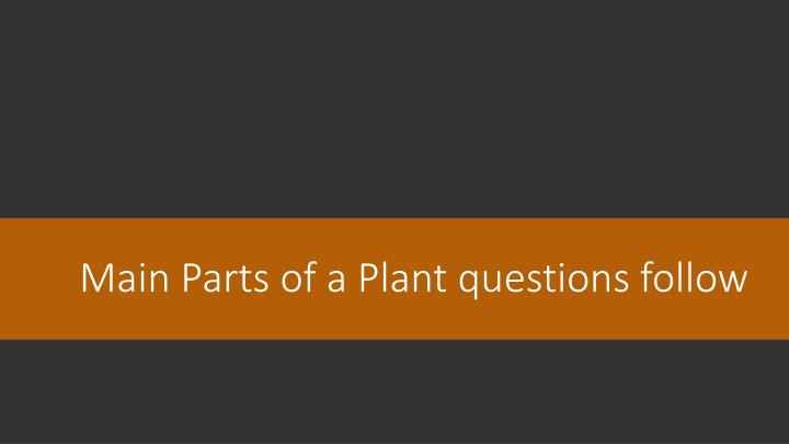 Main parts of a plant questions follow
