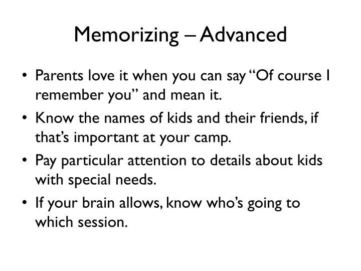 Memorizing – Advanced