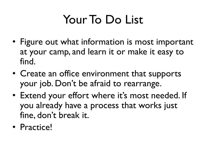 Your To Do List