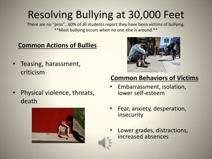Resolving Bullying at 30,000 Feet