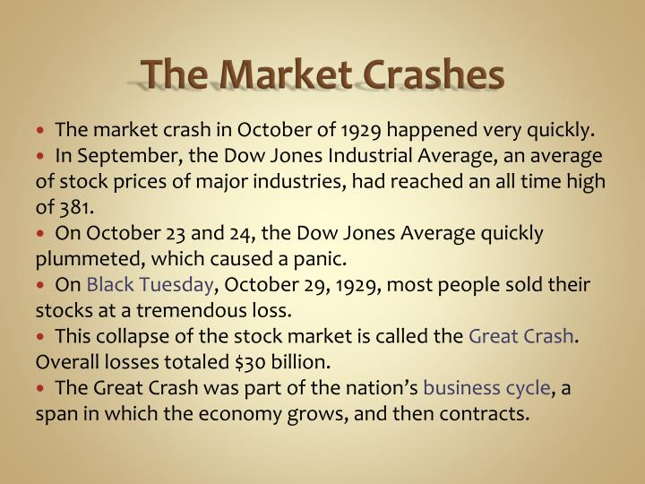 The market crashes