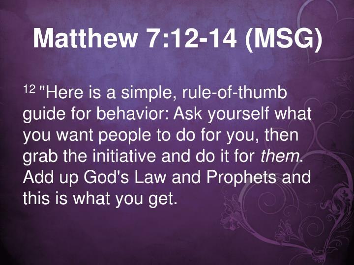 Matthew 7:12-14