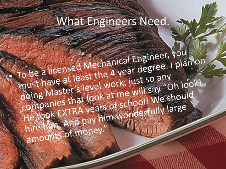 What Engineers Need.