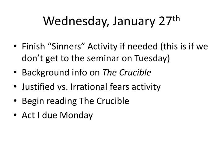 Wednesday, January 27
