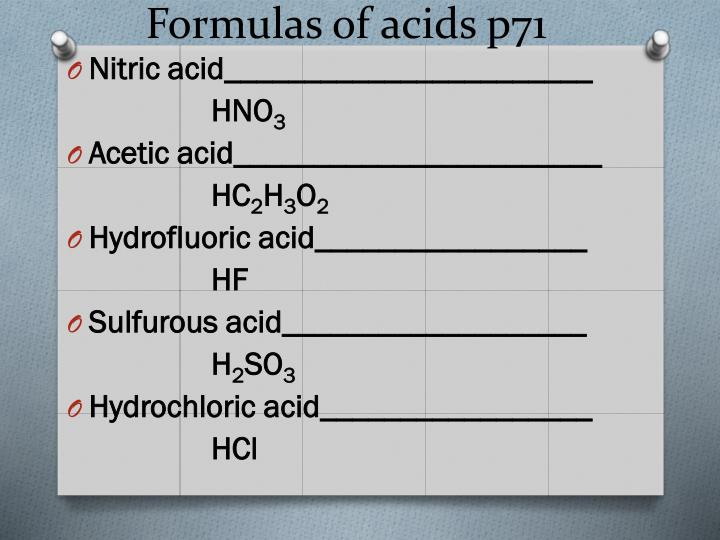 Formulas of acids p71