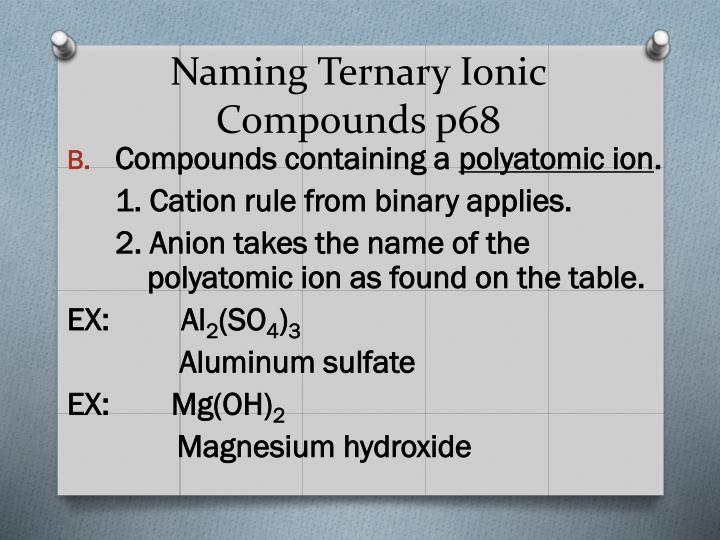 Naming Ternary Ionic Compounds p68