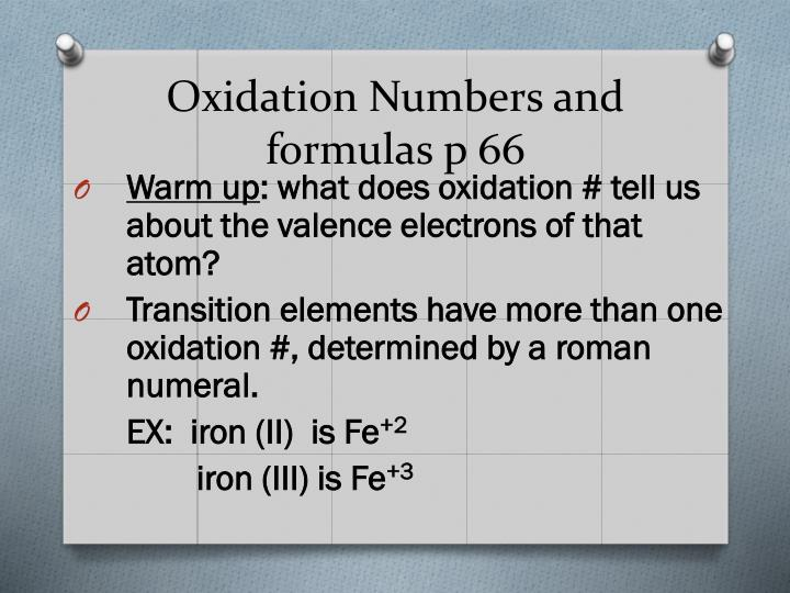 Oxidation Numbers and formulas p 66