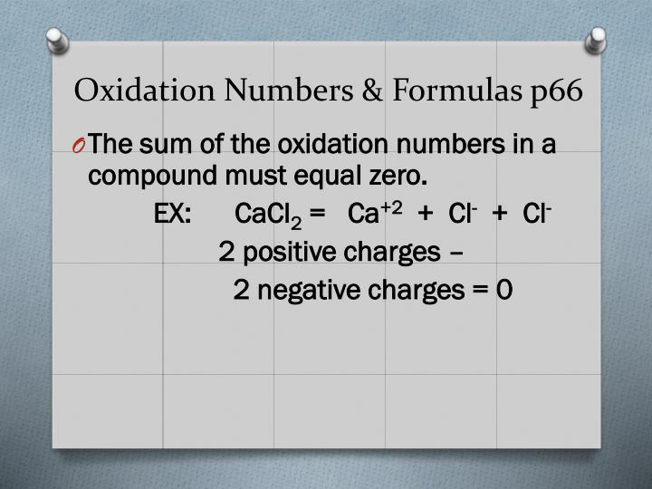 Oxidation Numbers & Formulas p66