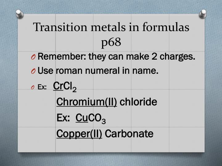 Transition metals in formulas p68