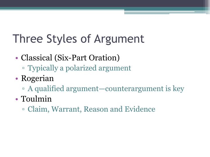 Three styles of argument