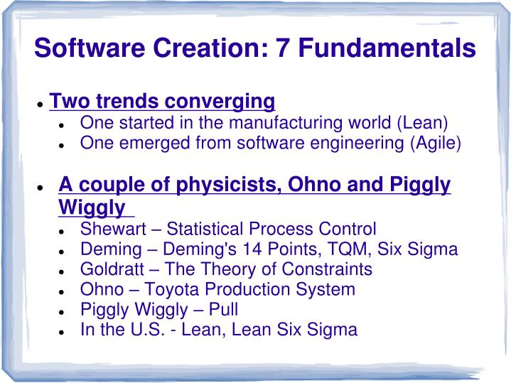 Software creation 7 fundamentals