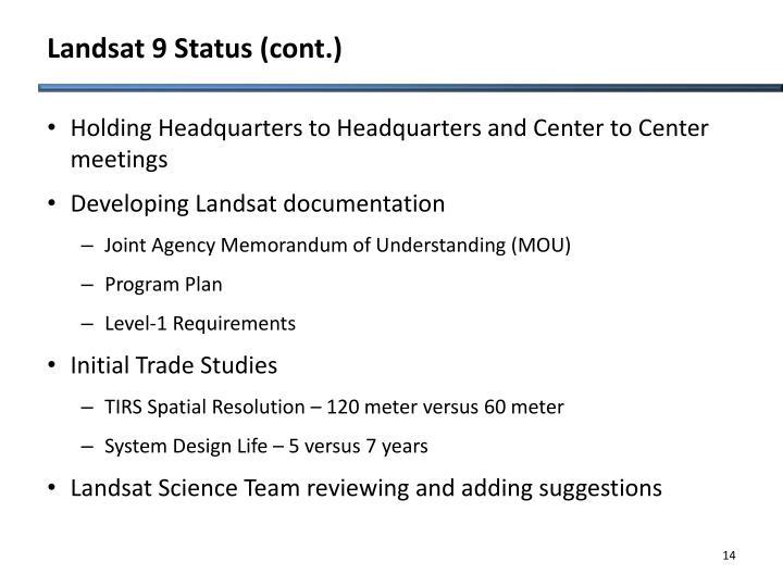 Landsat 9 Status (cont.)