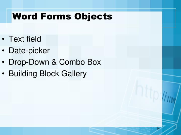 Word Forms Objects