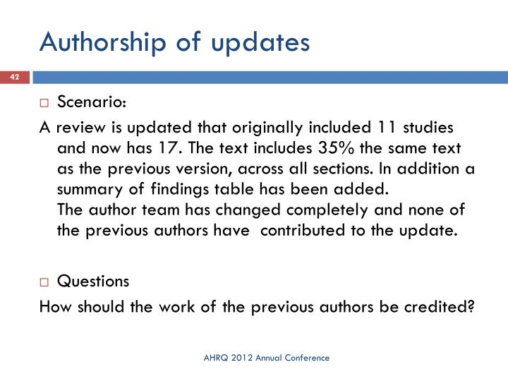 Authorship of updates