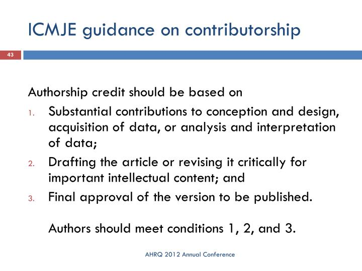 ICMJE guidance on contributorship