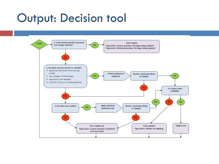 Output: Decision tool