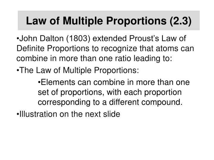 Law of Multiple Proportions (2.3)