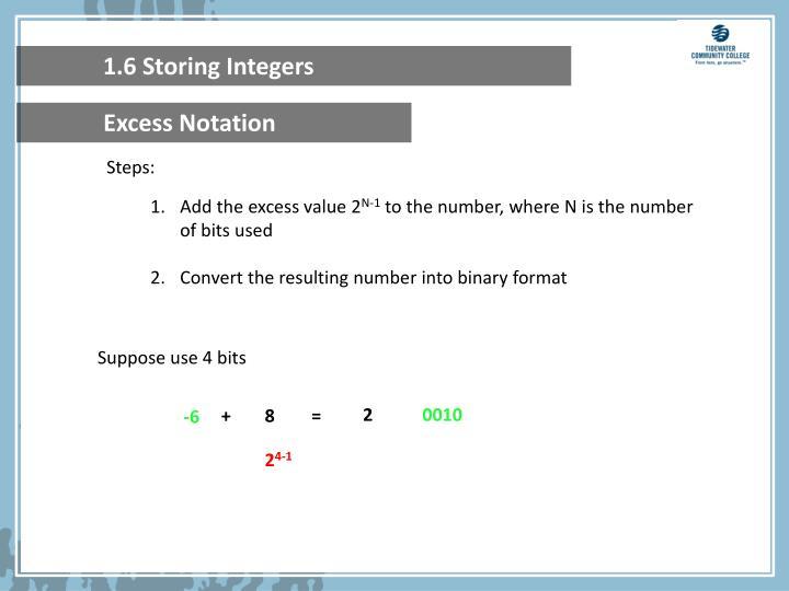 1.6 Storing Integers
