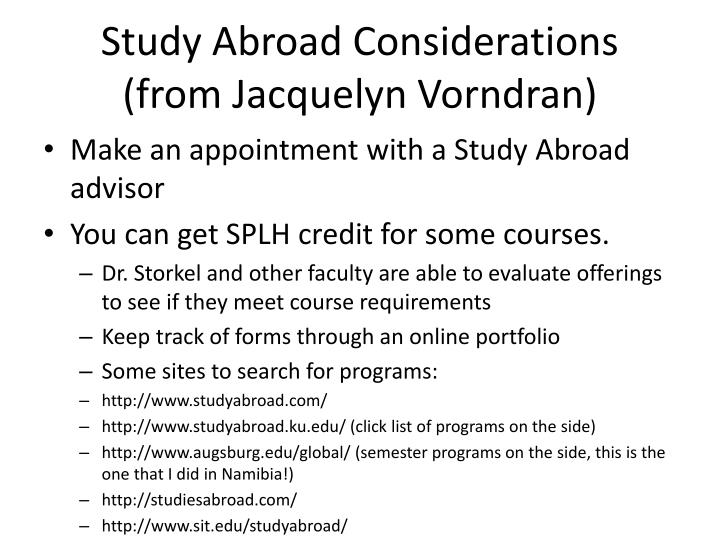 Study Abroad Considerations