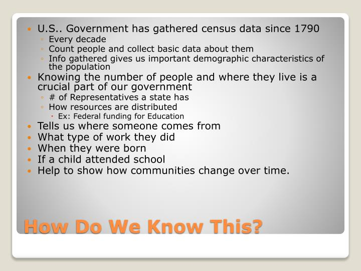 U.S.. Government has gathered census data since 1790