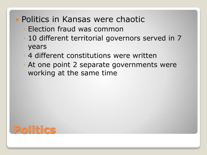 Politics in Kansas were chaotic