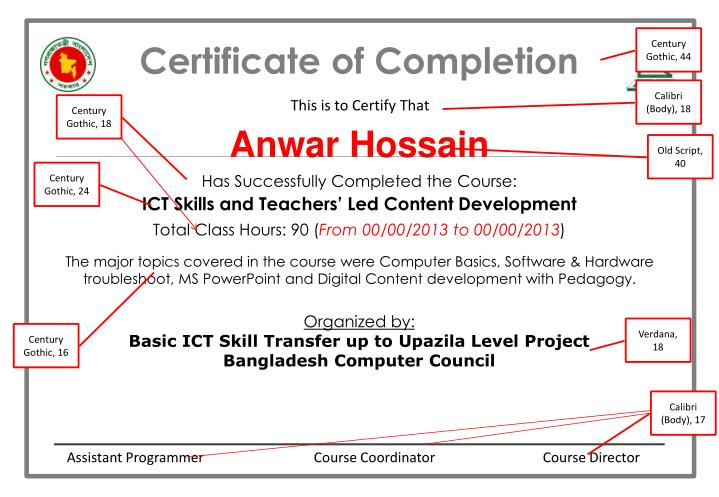 Certificate of completion1