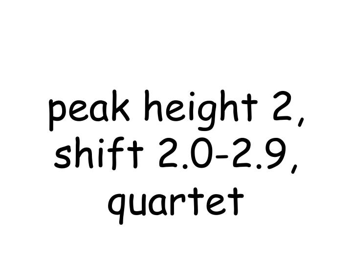 peak height 2, shift 2.0-2.9, quartet