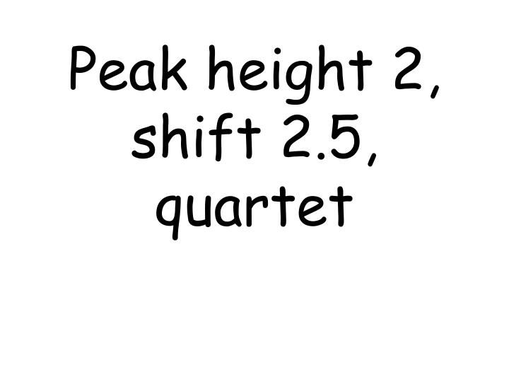 Peak height 2, shift 2.5, quartet