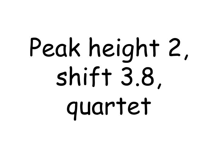 Peak height 2, shift 3.8, quartet