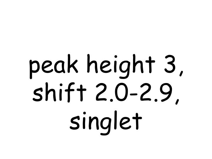 peak height 3, shift 2.0-2.9, singlet