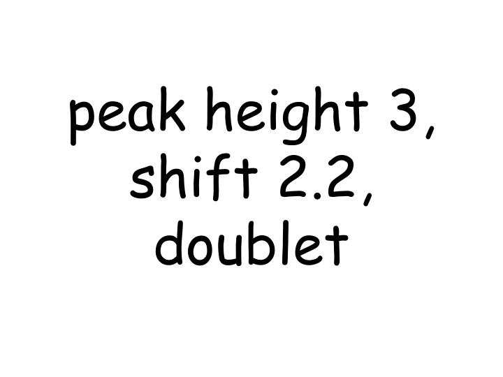 peak height 3, shift 2.2, doublet
