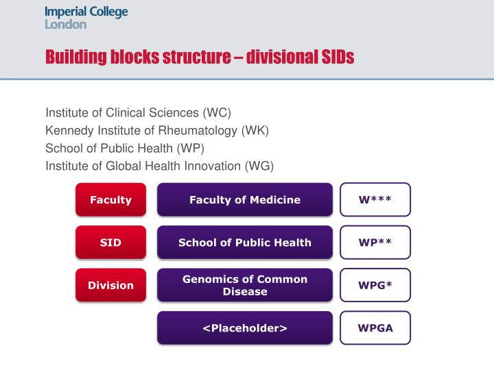 Building blocks structure – divisional SIDs