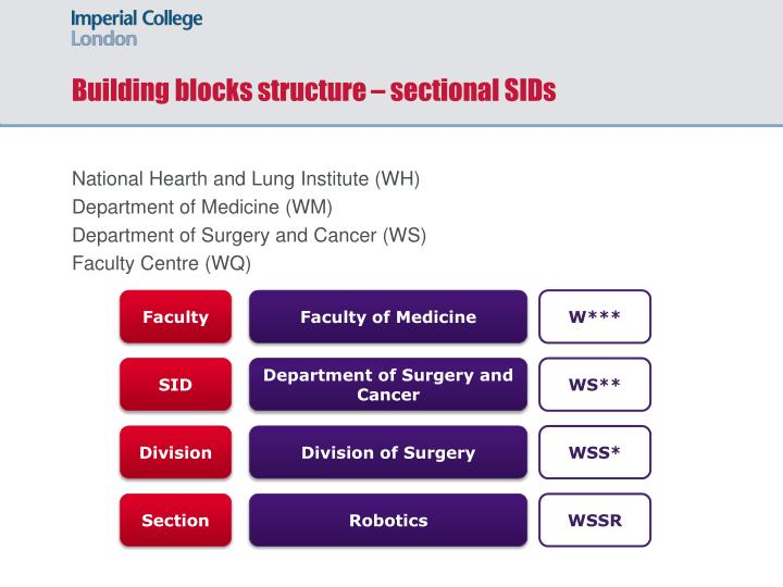 Building blocks structure – sectional SIDs