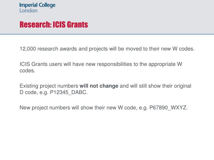 Research: ICIS Grants