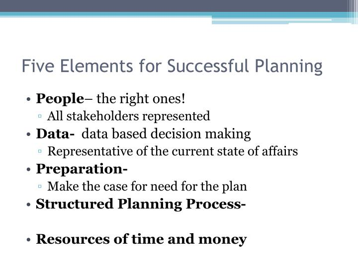 Five Elements for Successful Planning