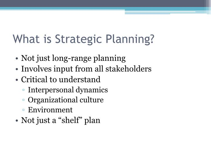 What is strategic planning1