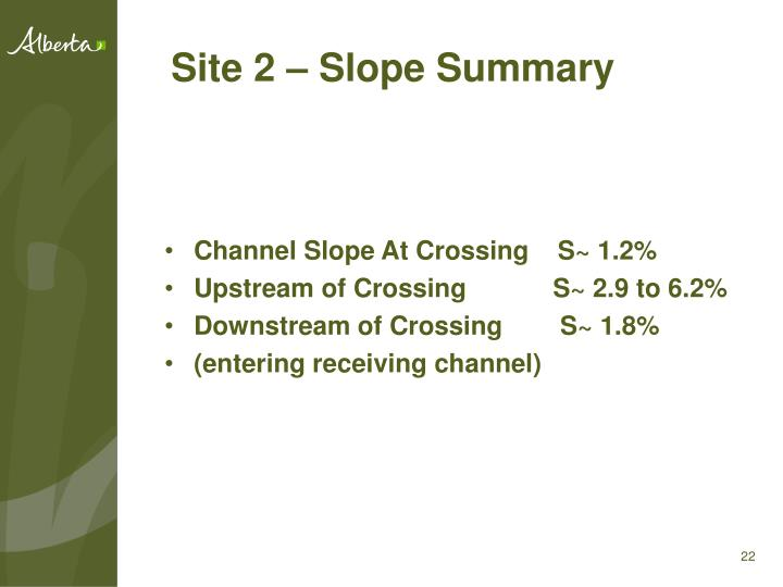 Site 2 – Slope Summary