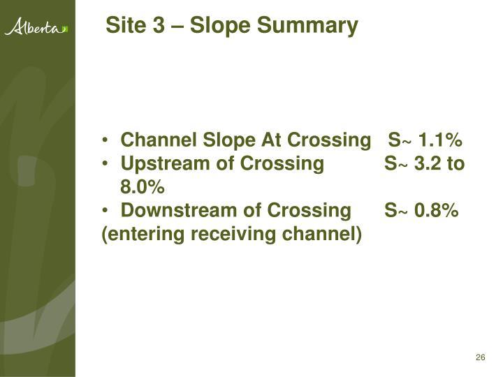 Site 3 – Slope Summary