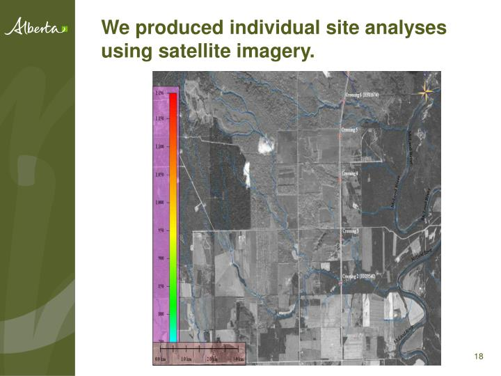 We produced individual site analyses using satellite imagery.